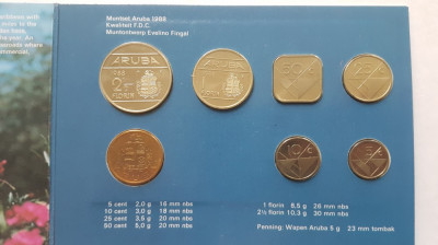 ARUBA set 2 1/2, 1, 50c, 25c, 10 c, 5c  florin / centi 1988 UNC foto