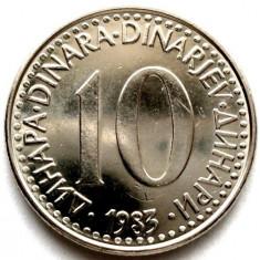 IUGOSLAVIA, 10 DINARI 1983, Europa, Crom