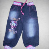 Pantaloni dublati, cu Hello Kitty, 2-3 ani, NOI, Marime: Masura unica, Culoare: Bleumarin, Fete