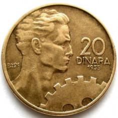 IUGOSLAVIA, 20 DINARI 1955, Europa, Bronz