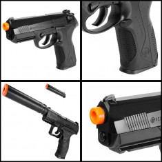 PISTOL AIRSOFT 6mm, PROPULSIE SPRING PE ARC, INCARCATOR, TINTA LASER+1000 BILE. - Arma Airsoft