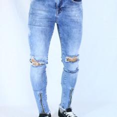 Blugi barbati conici elastici taiati cu fermoar la bata albastri slimfit fashion, Marime: 31, Culoare: Albastru, Lungi, Cu rupturi