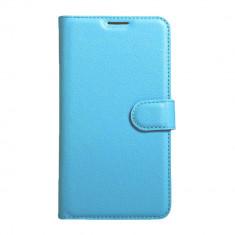 Husa LG K4 2017 - flip din piele eco Crazy Horse Bonus Folie Ecran - Husa Telefon LG, Albastru, Piele Ecologica