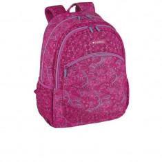 Ghiozdan roz, gimnaziu si liceu, floral, termoformat, 46 cm, Gabol Style, Fata