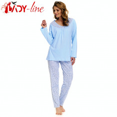 Pijama Dama Maneca si Pantalon Lung, Bumbac 100%, DN Nightwear, Cod 1383 - Pijamale dama, Marime: L, XL, Culoare: Albastru
