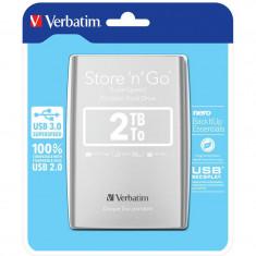 Hard disk extern Verbatim Store n Go 2TB 2.5 inch USB 3.0 Silver - HDD extern Verbatim, 2-4 TB, Rotatii: 5400