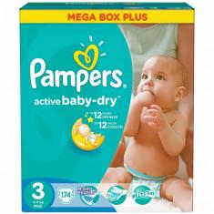 Scutece PAMPERS Active Baby 3 Mega Box Plus 174 buc - Scutece unica folosinta copii