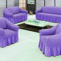 Set huse pt canapea 3 Locuri si 2 fotolii din bumbac elastic si creponat - Lila - Cuvertura pat