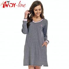 Camasa de Noapte cu Maneca Lunga, Princess Pink, DN Nightwear, Cod 1364, Marime: S, M, L, XL, Culoare: Gri