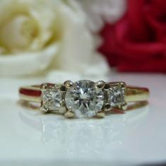 Inel aur 14k si diamante 0.70ct - Inel diamant, Culoare: Galben