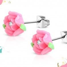 Cercei cu şurub din oţel, trandafir roz din material FIMO, zirconiu foto