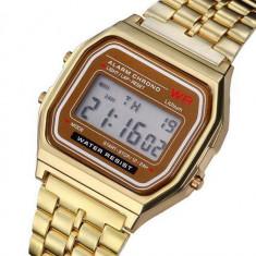 CEAS UNISEX STIL CASIO Vintage Model Retro Gold-STIL ANII 80-NOU IN TIPLA !!!, Placat cu aur