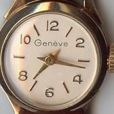 Ceas Geneve de dama, mecanic, defect, carcasa din aur 18 karate