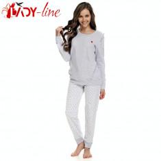 Pijamale Dama Cu Maneca Si Pantalon Lung, Brand DN Nightwear, Cod 1382, Marime: S, M, L, XL, Culoare: Gri
