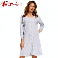 Camasa De Noapte Maneca Lunga, Elegant Lace, DN Nightwear, Cod 1360, Marime: XXL, Culoare: Gri