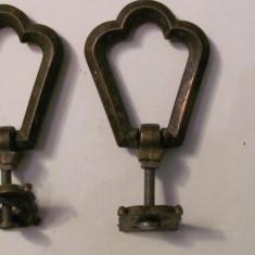 PVM - Pereche tragatori vechi bronz pentru mobilier