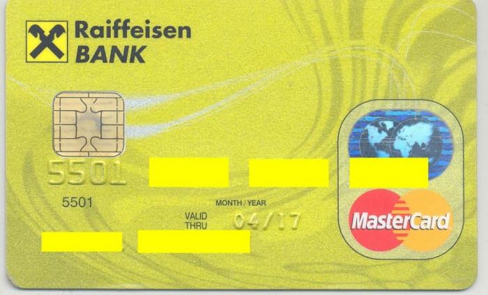 card bancar Mastercard Raifeissen foto mare