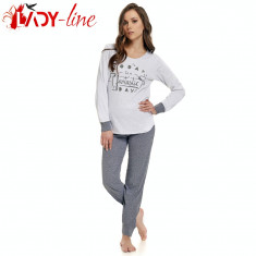 Pijama Dama Din Bumbac 100% Cu Maneca Si Pantalon Lung, DN Nightwear, Cod 1379
