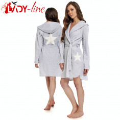 Halat Dama cu Maneca Lunga si GLuga, Brand DN Nightwear, Cod 1370, Culoare: Gri, Marime: L