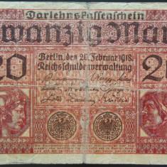 Bancnota 20 Marci - GERMANIA/ BERLIN, anul 1918 *cod 184 Razboiul I Mondial
