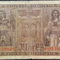 Bancnota 20 Marci - GERMANIA/ BERLIN, anul 1918 *cod 183 Razboiul I Mondial