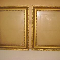 2 Rame pereche aurii vechi lemn stare buna- 47/37 cm. - Rama Tablou, Decupaj: Dreptunghiular