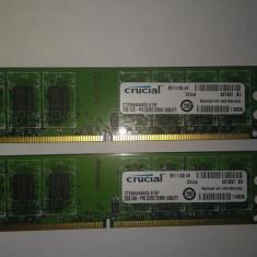 Kit Memorie Ram 2 x 2 Gb DDR2 Desktop Crucial 800 Mhz / Dual chanell (63A), 4 GB, Dual channel