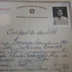 Certificat de absolvire pentru calificare tesut anul 1952 - Diploma/Certificat