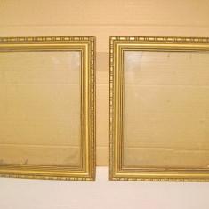 2 Rame pereche aurii vechi lemn stare buna 36_30 cm. - Rama Tablou, Decupaj: Dreptunghiular