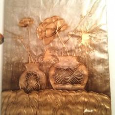 Tablou  Vase cu flori 52x61cm ulei pe panza auriu cu argintiu