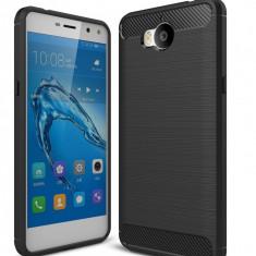 Husa Huawei Y6 2017 - Tpu Carbon Fibre Brushed - Husa Telefon Huawei, Negru, Gel TPU