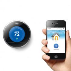 Resigilat : Termostat inteligent Nest conectare la internet si control de la dista, Pentru centrala termica, Wireless