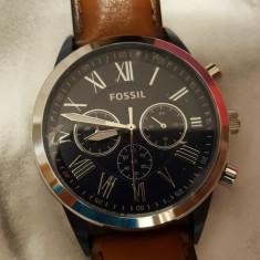 Ceas FOSSIL Carbatesc Model BQ2155 - Ceas barbatesc Fossil, Elegant, Quartz, Otel, Piele ecologica, Cronograf