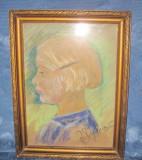 Tablou vechi creion Chip de fetita semnat indescifrabil., Portrete, Carbune, Realism