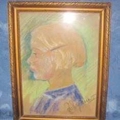 Tablou vechi creion Chip de fetita semnat indescifrabil. - Tablou autor neidentificat, Portrete, Carbune, Realism