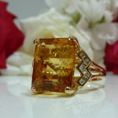 Inel aur 14k cu diamante si citrine, Culoare: Galben