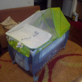 Patut pliabil cu 2 nivele - Patut pliant bebelusi Sun Baby, 120x60cm, Verde