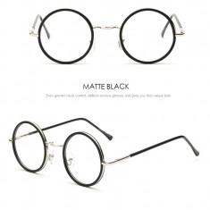 Ochelari lentila transparenta protectie model retro negru mat + husa inclusa, Rotunda