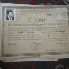 Diploma buzau anul 1945 cu examen dat in bucuresti cu semnatura de ministru - Diploma/Certificat