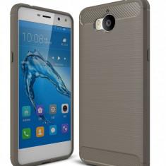 Husa Huawei Y6 2017 - Tpu Carbon Fibre Brushed - Husa Telefon Huawei, Gri, Gel TPU
