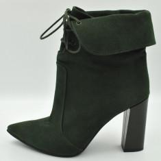 Botine dama, green, Cod: 0027 GREEN INCHIS (Culoare: Verde, Inaltime toc (cm): 9.5, Marime Incaltaminte: 38)