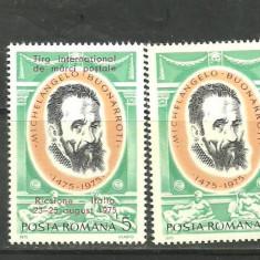 Romania 1975 - MICHELANGELO, timbru MNH cu si fara SUPRATIPAR, CD159 - Timbre Romania, Nestampilat