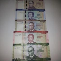 Liberia Set 5,10,20,50,100 Dollars 2016 UNC