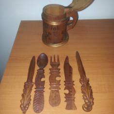 Lot 6 obiecte artizanale sculptura manuala din lemn