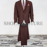 Costum Elegant Barbati, Slim Fit, Cod:150-209 (Culoare: Bordo, Marime Costum: 46) - Costum barbati