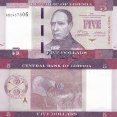 Liberia 5 Dollars 2016 UNC