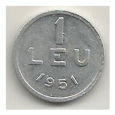 ROMANIA 1 LEU 1951 [18] livrare in cartonas - Moneda Romania, Aluminiu