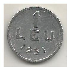 ROMANIA 1 LEU 1951 [24] livrare in cartonas - Moneda Romania, Aluminiu