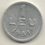 ROMANIA   1  LEU  1951  [14]    livrare  in  cartonas, Aluminiu