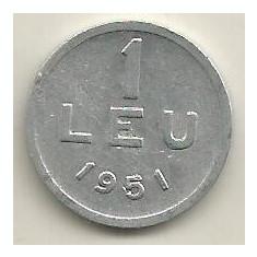 ROMANIA 1 LEU 1951 [14] livrare in cartonas - Moneda Romania, Aluminiu